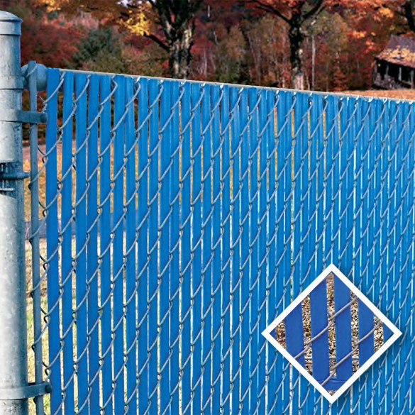 PDS 7' Chain Link Fence Bottom Locking Privacy Slats (Light Blue, 2 1/4 Inch)