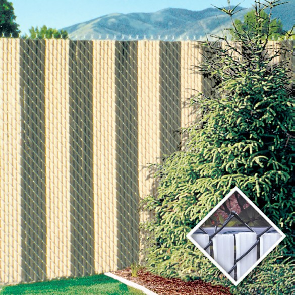 PDS 3.5' Chain Link Fence FinLink Privacy Slats (Beige, 2 Inch)