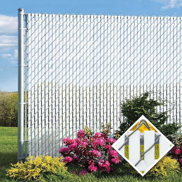 PDS 4' Chain Link Fence Top Locking Privacy Slats (White, 2 Inch)