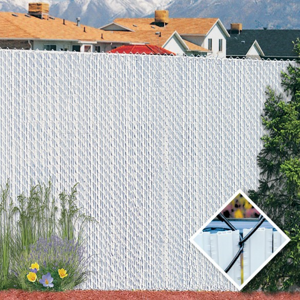 PDS 7' Chain Link Fence Winged Slat Privacy Slats (White)